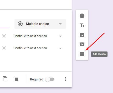 Google Form Add Section
